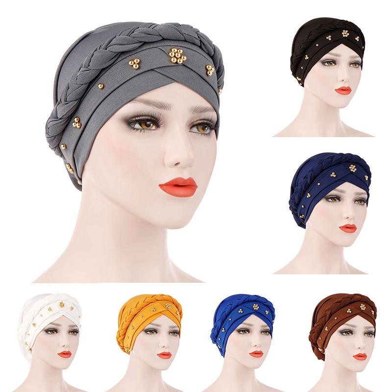 Winter Warm Headbans Womens Knitted Beaded Turban Cap Hat Headwrap Scarves
