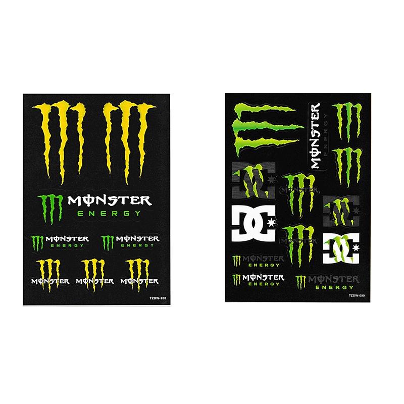 2 Set Monster Energy Motocross Bike Racing Helmet Jdm Vally Car Sticker Decal