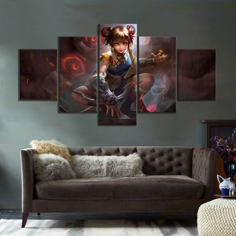 5 Pin Hd Pictures Wanwan Mobile League Game Poster Paintings Canvas Art Decorative Paintings For Wall Deco Shopee Malaysia
