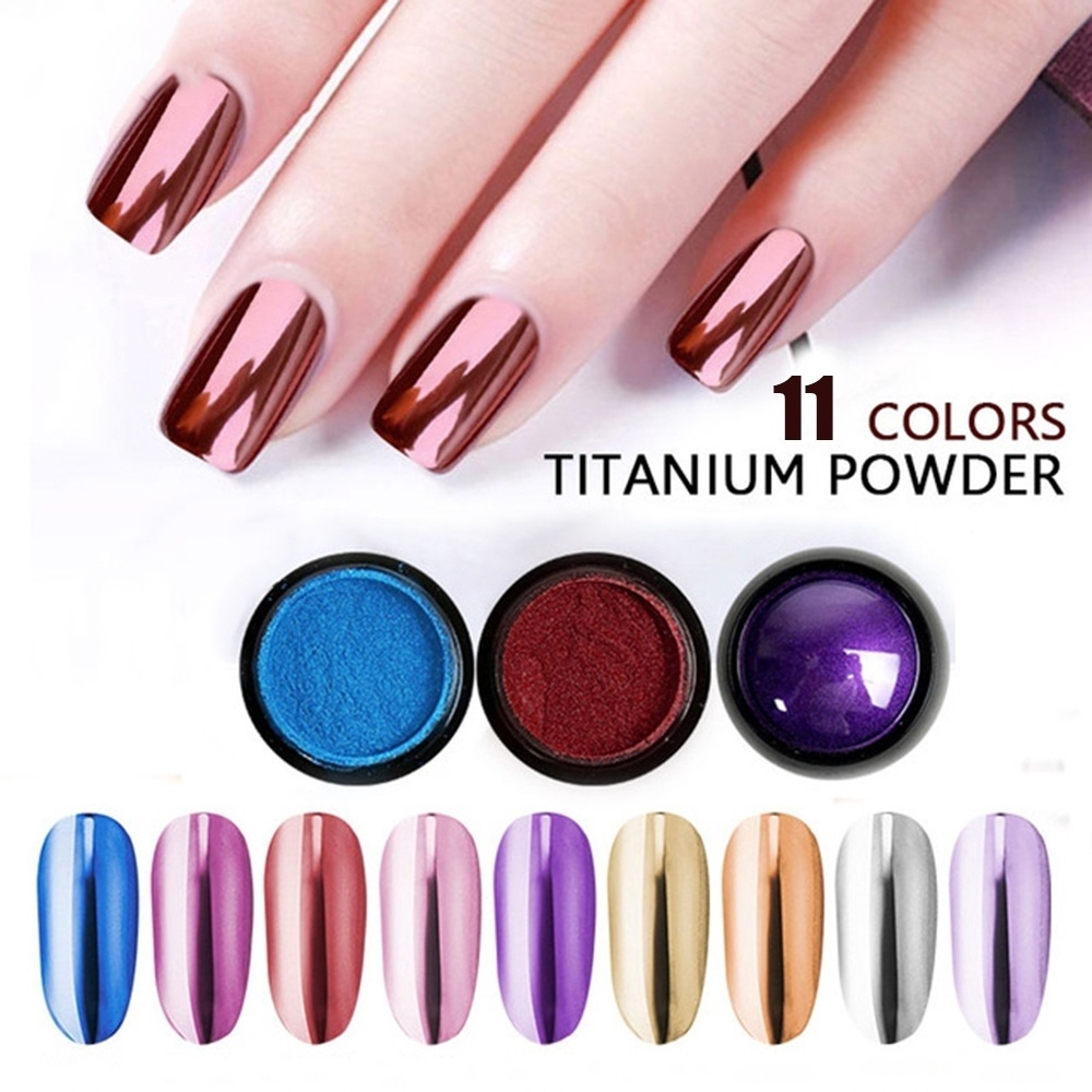 1c8d719161 11 Colors Manicure Art Chrome Nail Titanium Powder Mirror Flour Superfine  Shiny Gel Polish DIY Art