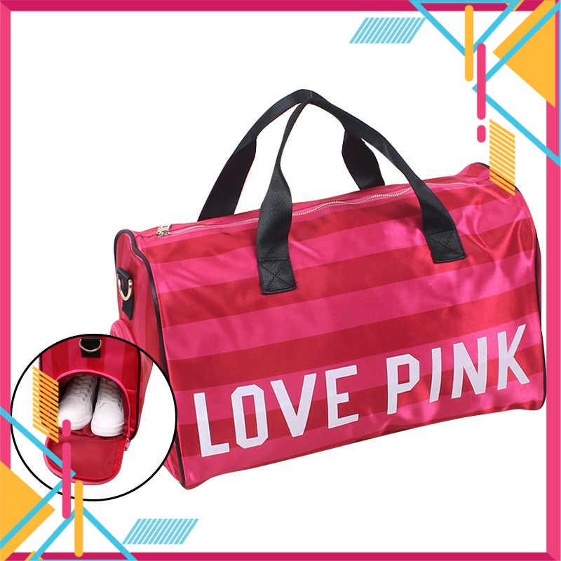 Love Pink Travel Bag with Shoe Case [Free Gift]