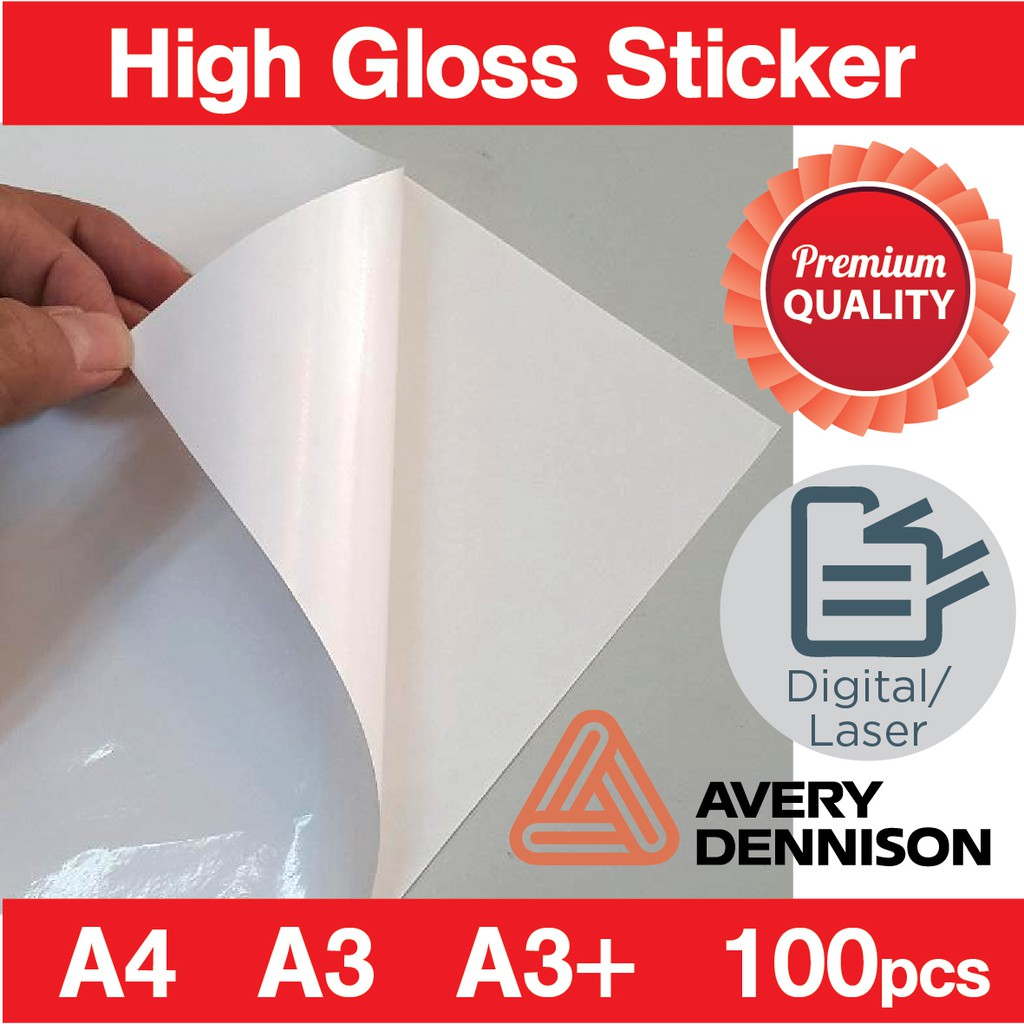A4 label a3 sticker glossy mirrorkote sticker self adhesive fasson avery