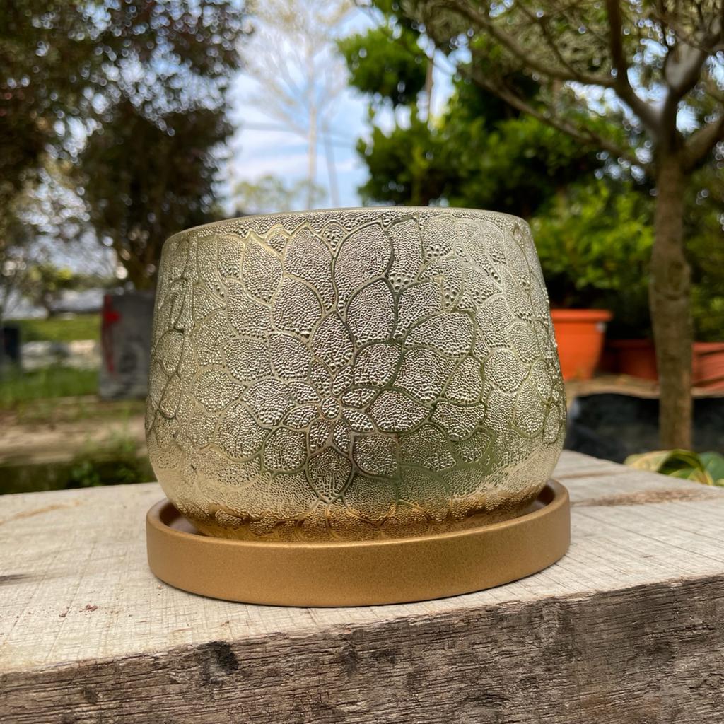 [IGL] Flower art ceramic pot 14cm x 12cm [ready stock]
