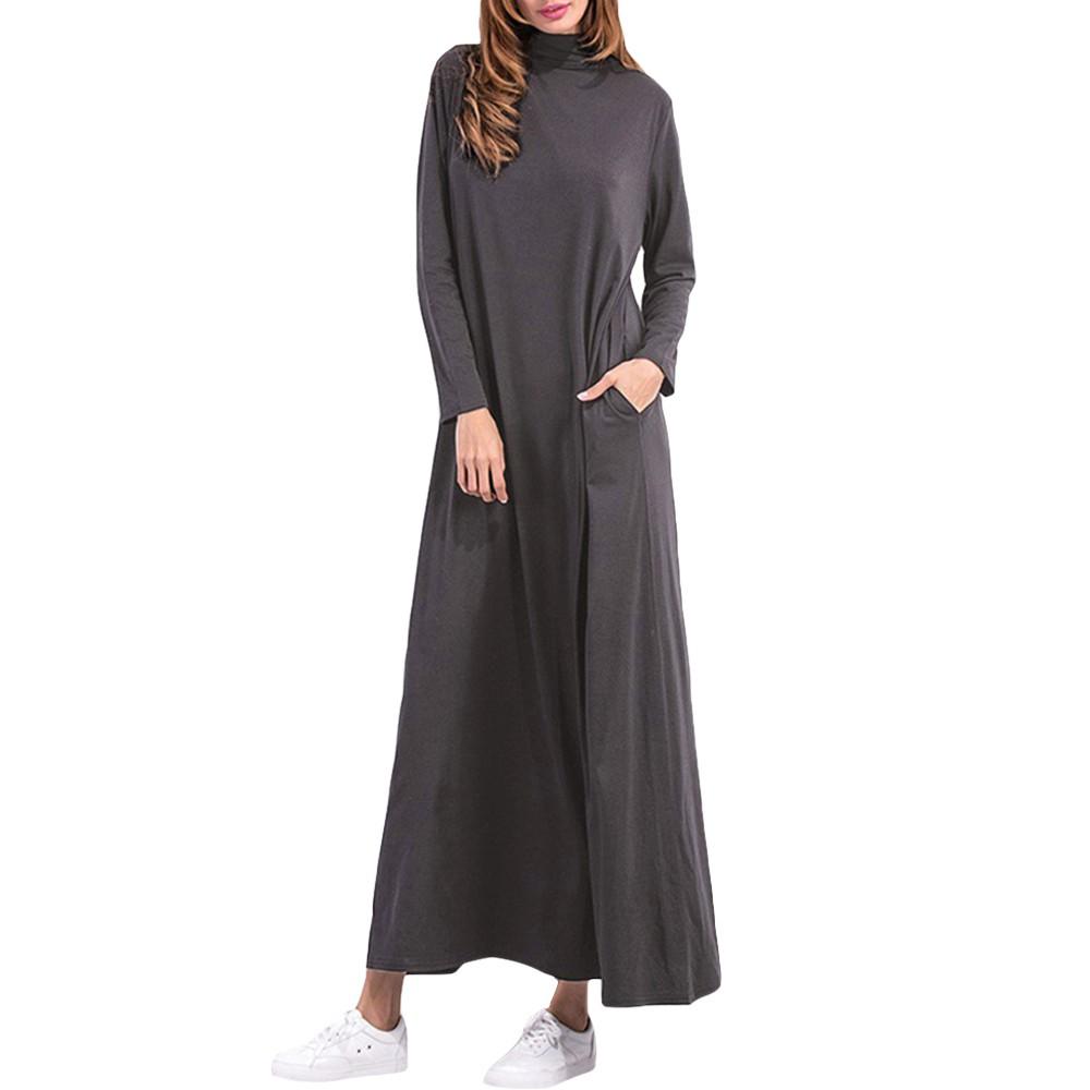 1d7aa3b076faf ZANZEA Women's Casual Loose Long Sleeve Solid Plus Size Maxi Dress