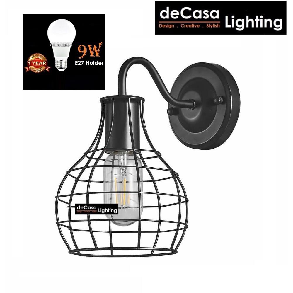 (SET WITH LED BULB) LOFT RETRO WALL LIGHT / LAMPU DINDING HIASAN / 壁灯 / E27 HOLDER / NORDIC STYLE (13502)