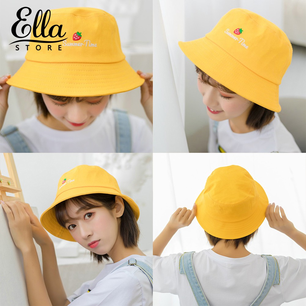 EG/_ STRAWBERRY LETTER EMBROIDERED FOLDING FISHERMAN HAT OUTDOOR UNISEX BUCKET CA