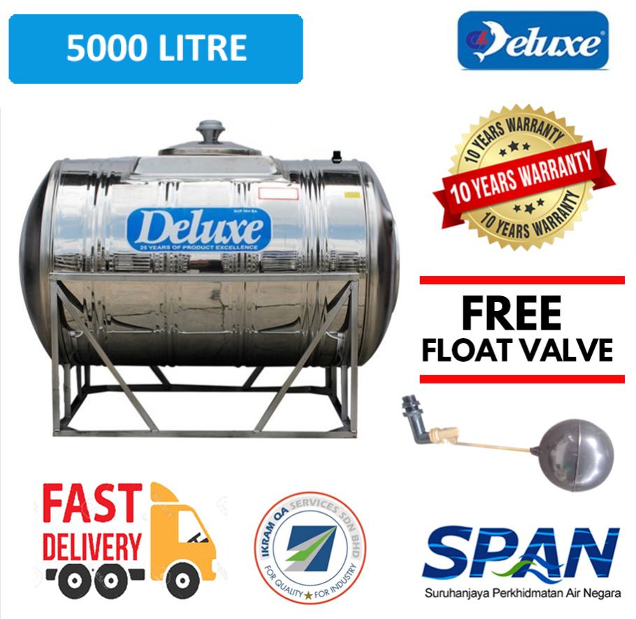 Deluxe Stainless Steel Water Tank Horizontal With Stand (2000-5000 LITRES) Tangki Air Warranty Up To 10 Years
