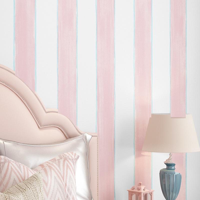 Mussy Children S Non Woven Wallpaper Bedroom Pink Girl Boy Room Girl Princess Pink Cartoon Vertical Stripe Wallpaper Shopee Malaysia