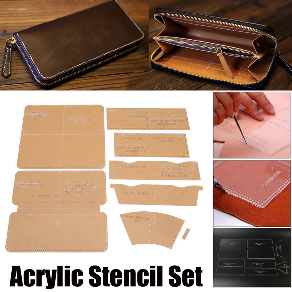 Leather Craft Acrylic Short Wallet Pattern Stencil Template Tool DIY Set