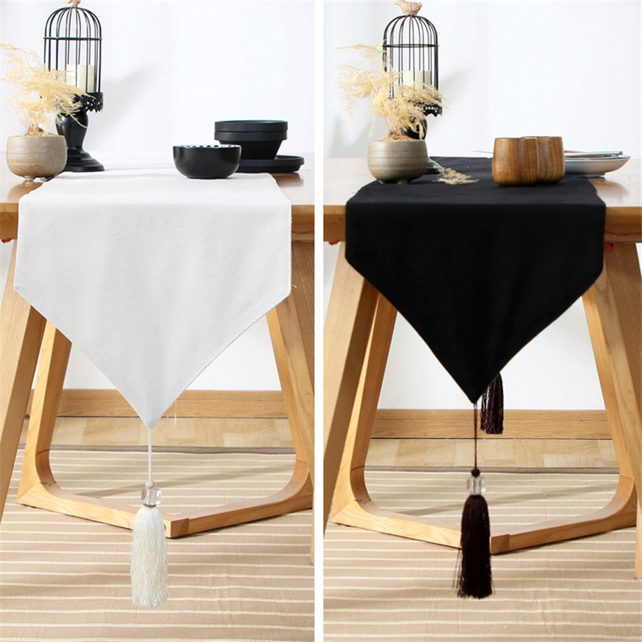 Japan Solid Color Rectangle Table Runners For Home Dining Table Decor Cotton Linen Table Tea Runner Shoes Cabinet Cover Shopee Malaysia