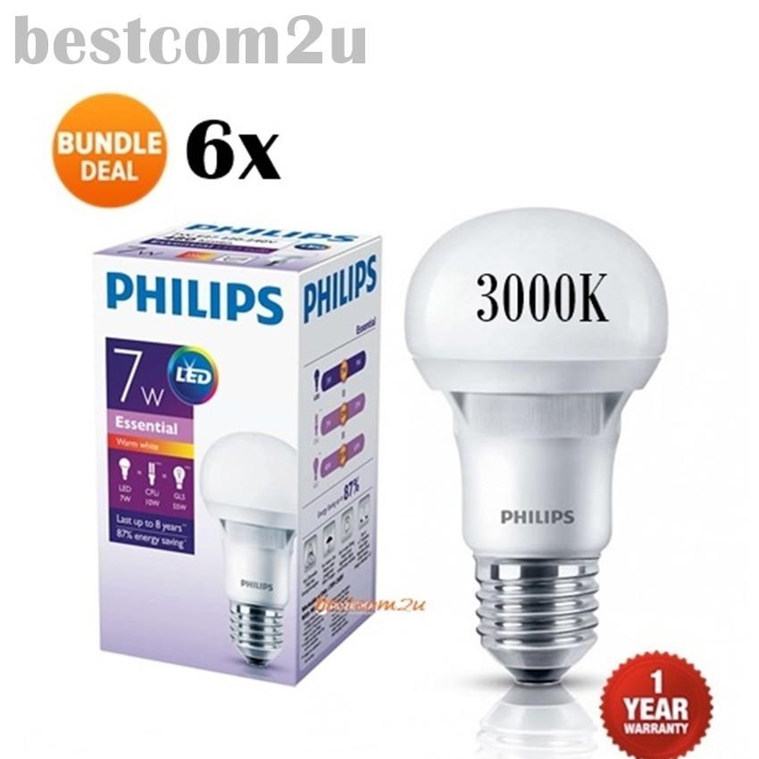 [12x] PHILIPS Essential 7W LED bulb / lamp E27 6500K 230V A60 (Daylight) | Shopee Malaysia