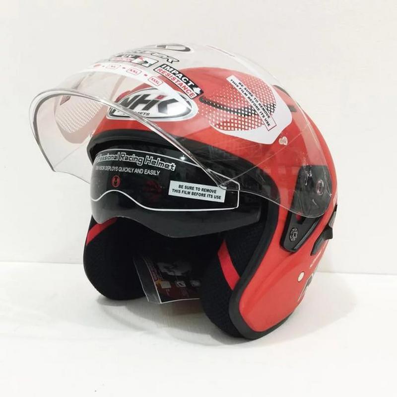 NHK Helmets r1 Double Visor Solid Red Doff | Shopee Malaysia