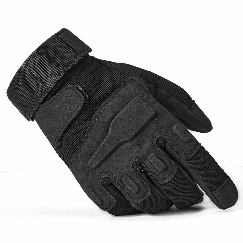 New Men/'s Genuine Police Force Motorcycle Leather Tactical Gloves Black