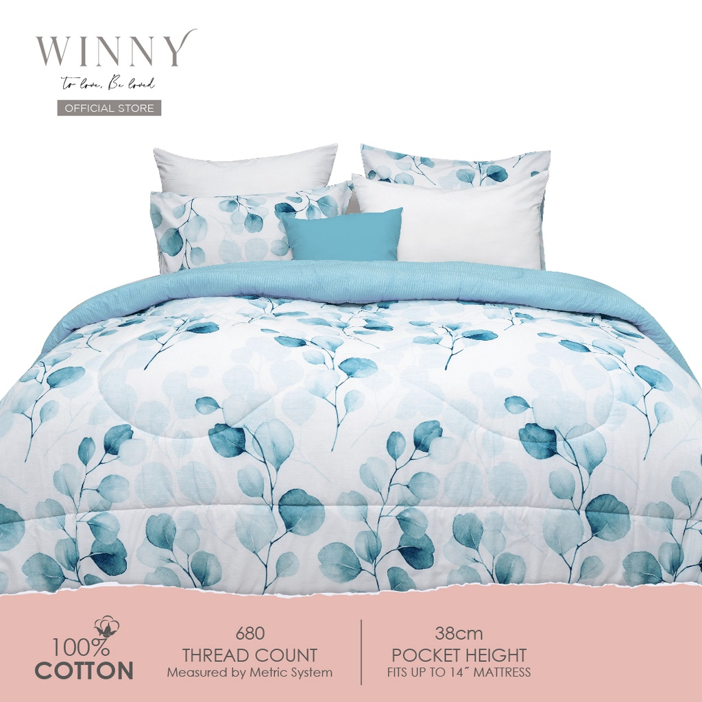 Winny Floreal Fitted Sheet Set-680 TC (SUPER SINGLE/QUEEN/KING)-COTTON