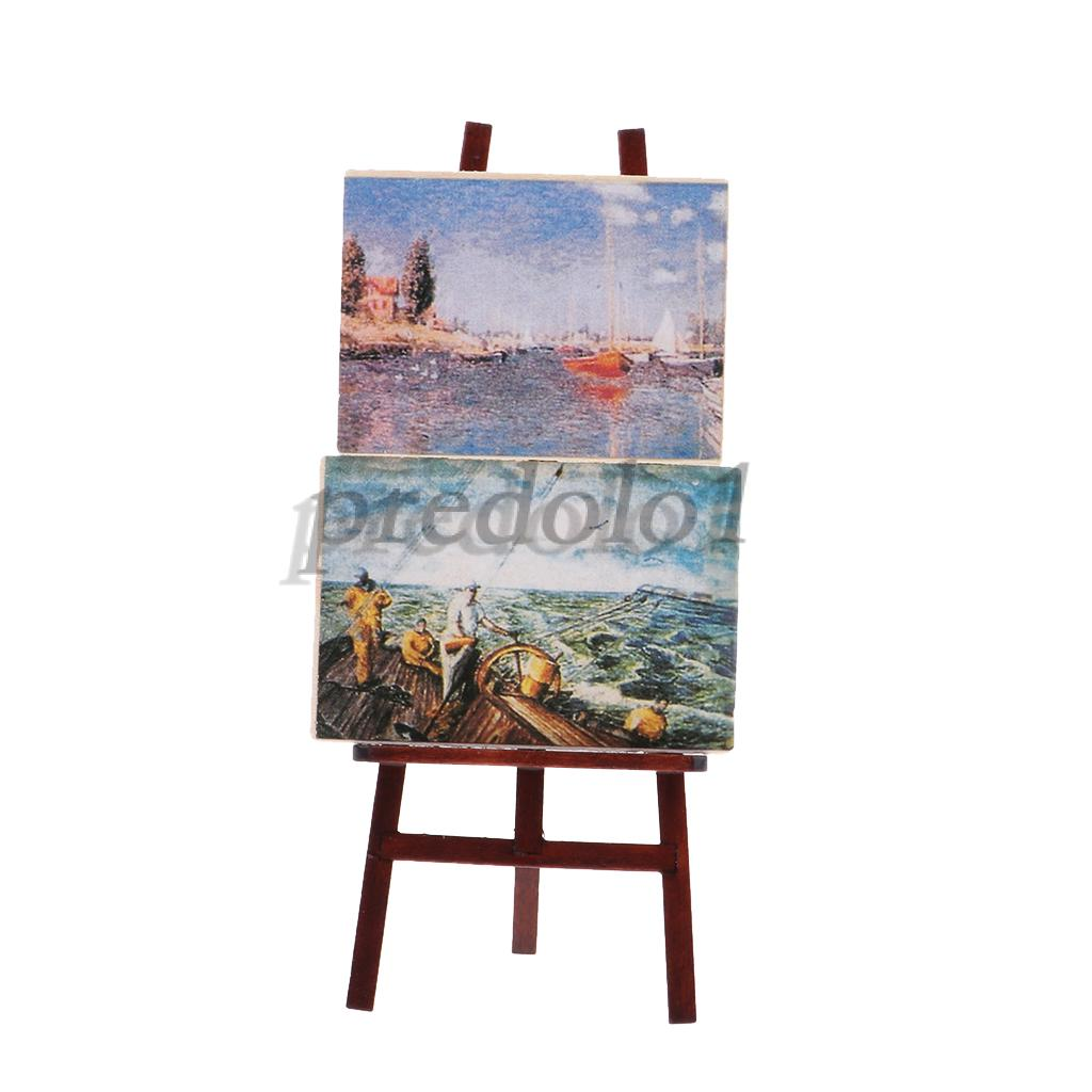 12th Dolls House Miniature Artist Easel w//2 Painting Picture Port /& Seascape
