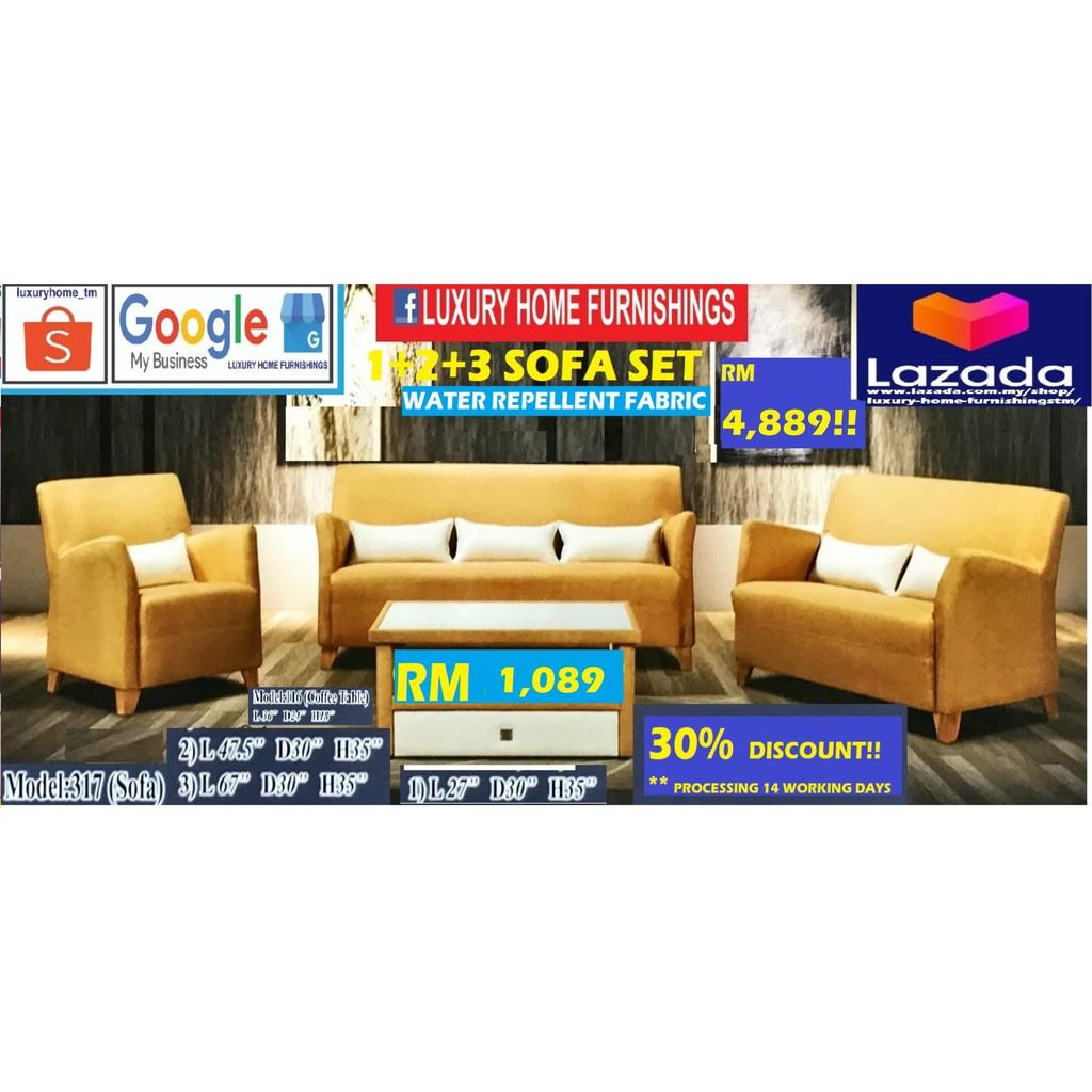 Sofa Set, Water Repellent FABRIC, 1+2+3 Set, RM 4,489!! ENJOY 30% DISCOUNT!!