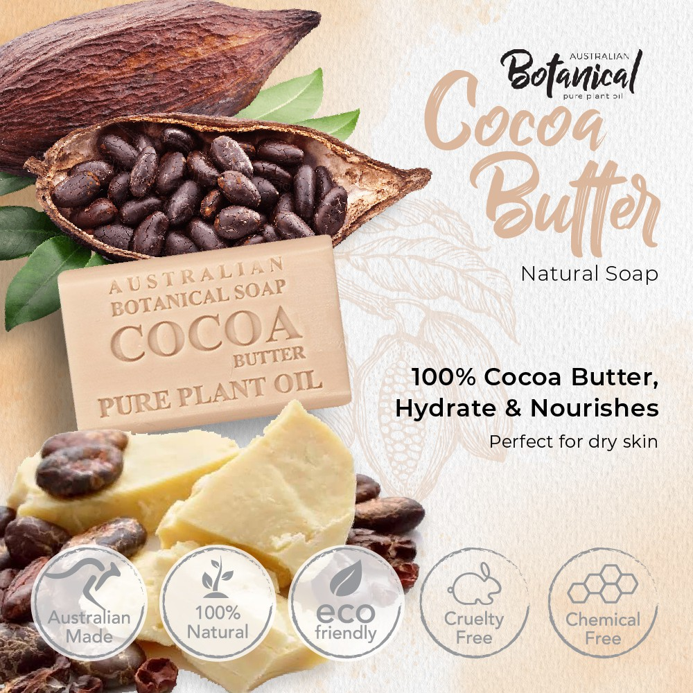 Australia Natural Soap 100% Cocoa Butter - 3X Moisturizing, Anti-aging, Good FOR DRY SKIN by Australian Botanical