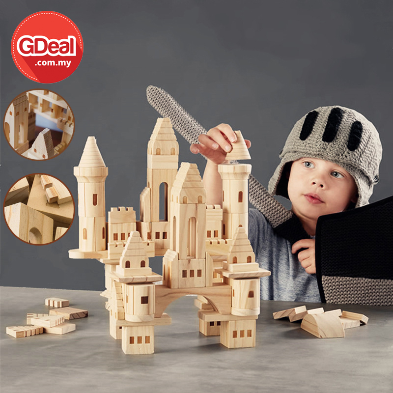GDeal 75pcs Children Castle Building Block Early Education Interactive Solid Wooden Toy