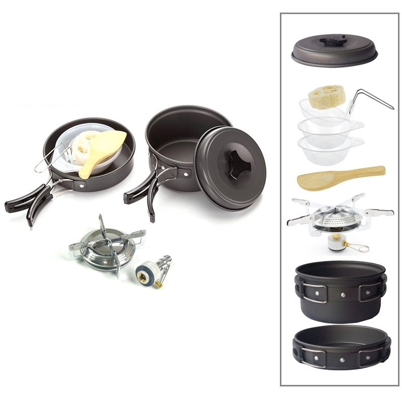 2pcs Iron Camping Steak Frying Pan Detachable Skillets Carry Case Outdoor