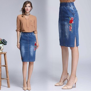 5add2be4ede Women High Elastic Waist Embroidery Skiny A-Line Denim Skirts Plus Size S-4xL
