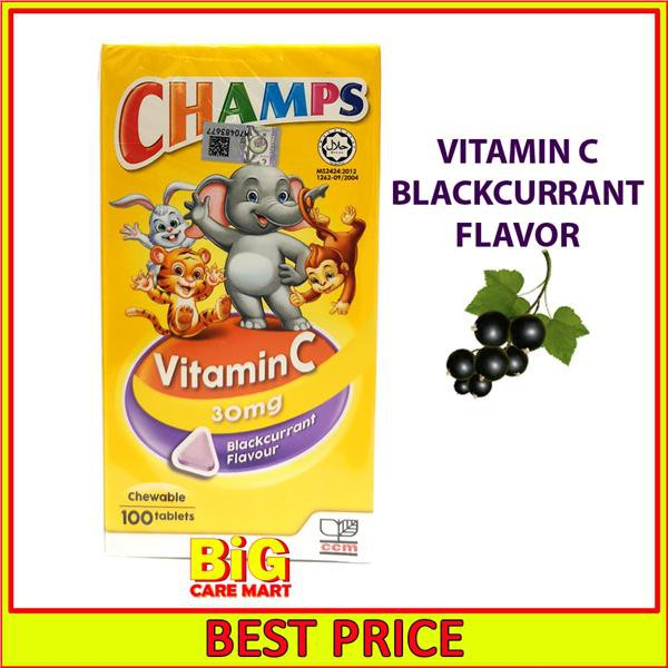 [Vitamin C for Kids] Champs Vitamin C 30mg Chewable Blackcurrant 100s