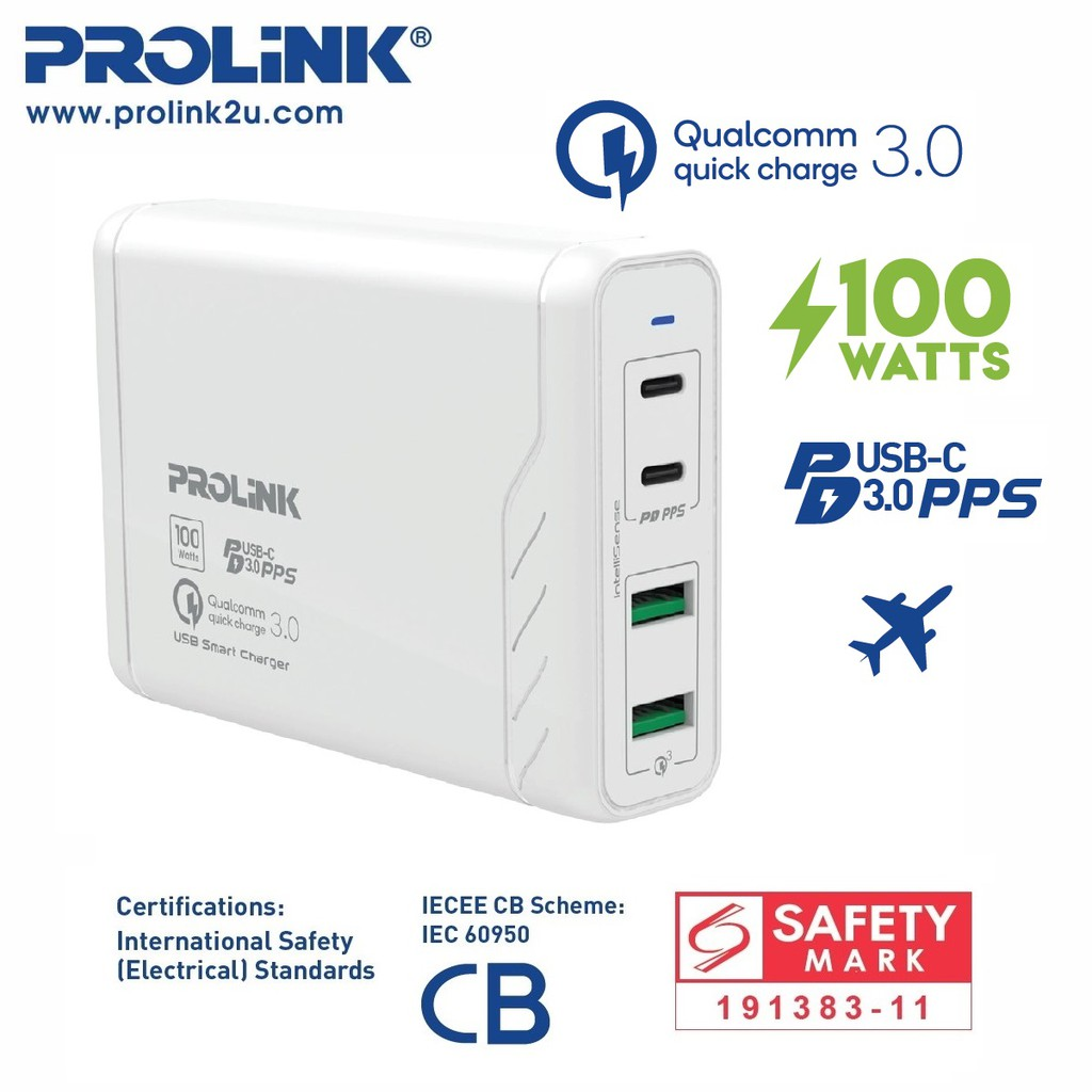 PROLiNK 100W 4-Port USB Charger Power Delivery PD3.0 PPS Suitable for Samsung Note 10+ PDC410001