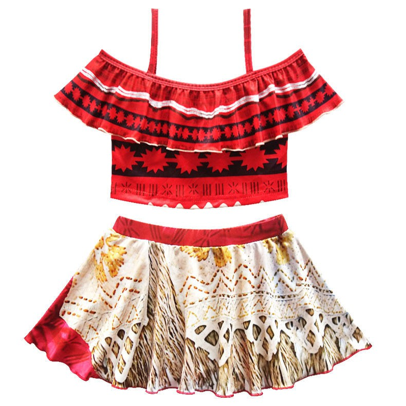 b8fa8d3ade5 Moana Kids Baby Girls Two Pieces Bikini Swimsuit Swimming Skirt Costume  Dresses
