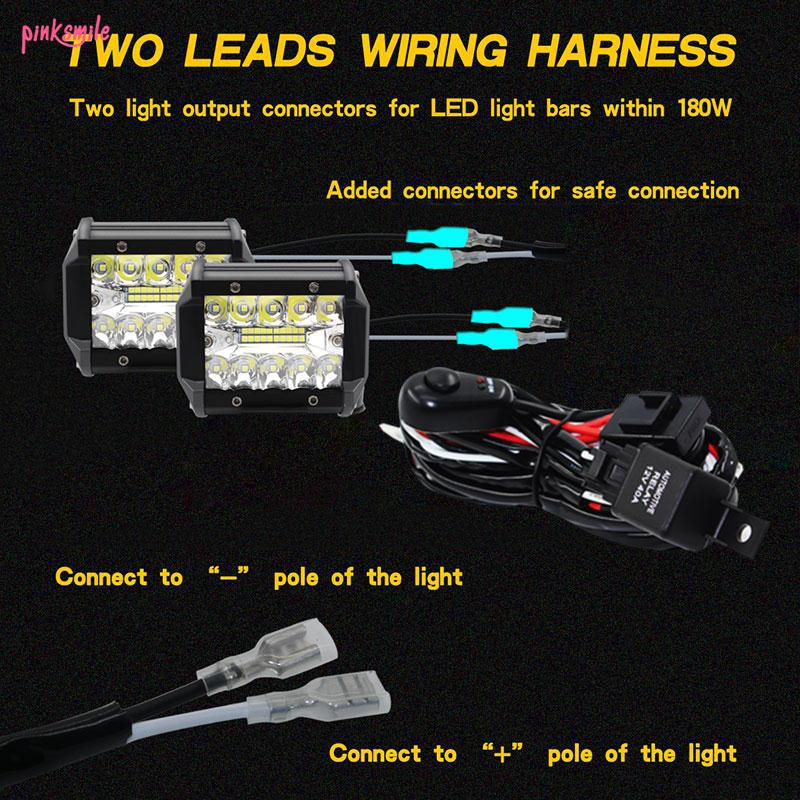 ☻☻Car Wiring Harness Kit Headlight Wiring Cable 9-16V Professional on