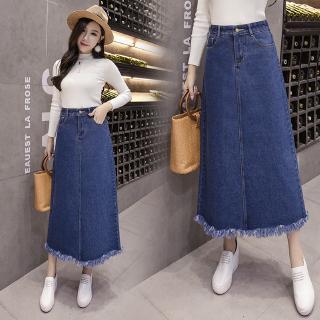 dfaf51283ea6e Plus Size High Waist Skirt Fashion Women A-Line Denim Long Jupe Jean ...