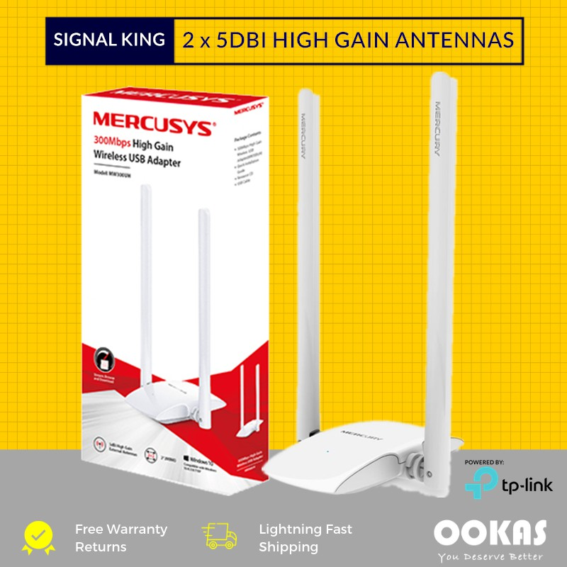 Mecusys (Powered by TP-Link) 2 x 5dBi High Gain USB WiFi Wireless Adapter  MW300UH Wi-Fi (TP Link)