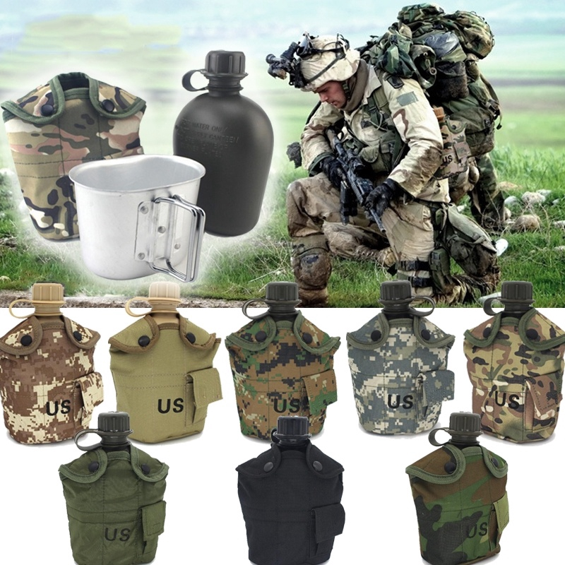 Heavy Cover Aluminum Army Water Bottle Drinks Cup Military Canteen Cycling