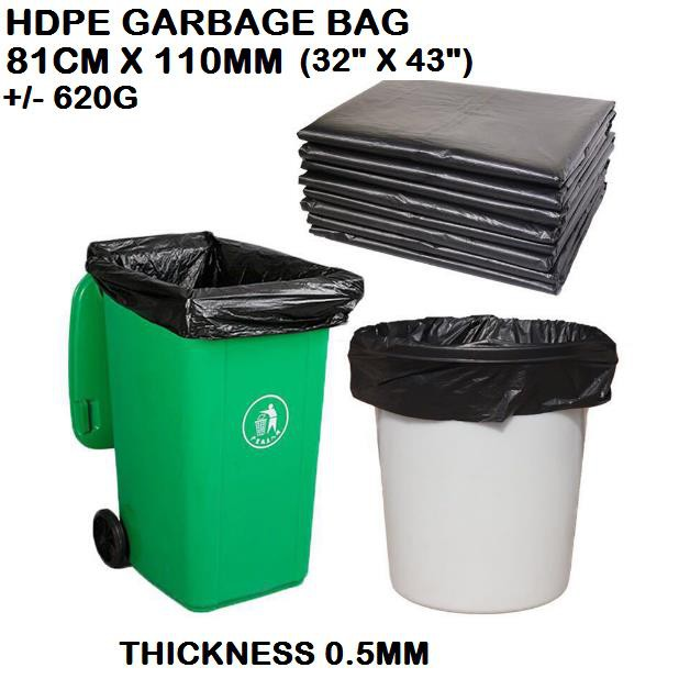 "(81cm x 110cm±)JCP HDPE XL (Thick) Garbage Bag / High Quality Garbage Bag - Extra Large  Beg Sampah 32"" x 44"""