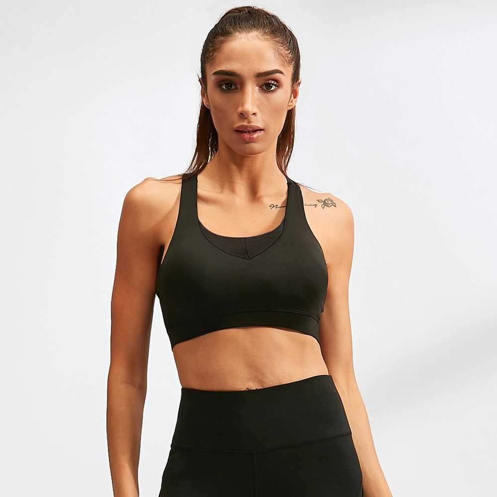 Fashion Fitness Women Yoga Bras Tank Top Workout Vest Backless Racerback Splice Color Running Gym Push Up Sport Brassie