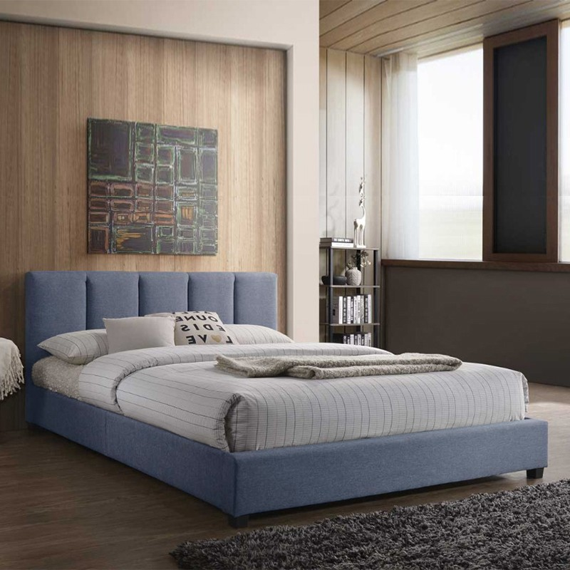 MANADO Queen Size Side Rail Fabric Bed Frame - Blue Color and Grey Color