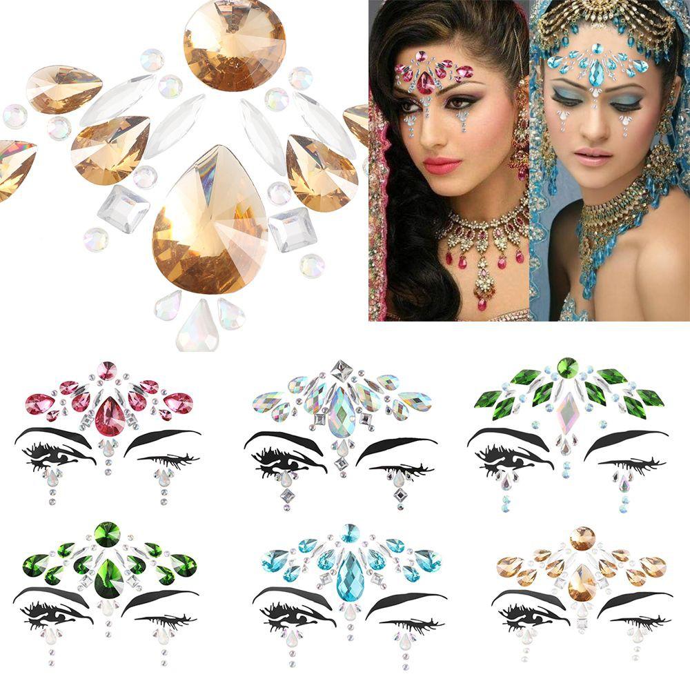 Party Makeup Rhinestone Women Fashion 3D Crystal Tattoo Adhesive Face  Jewelry Eyeshadow Jewels Eye Gems Stickers c8140098ae8f