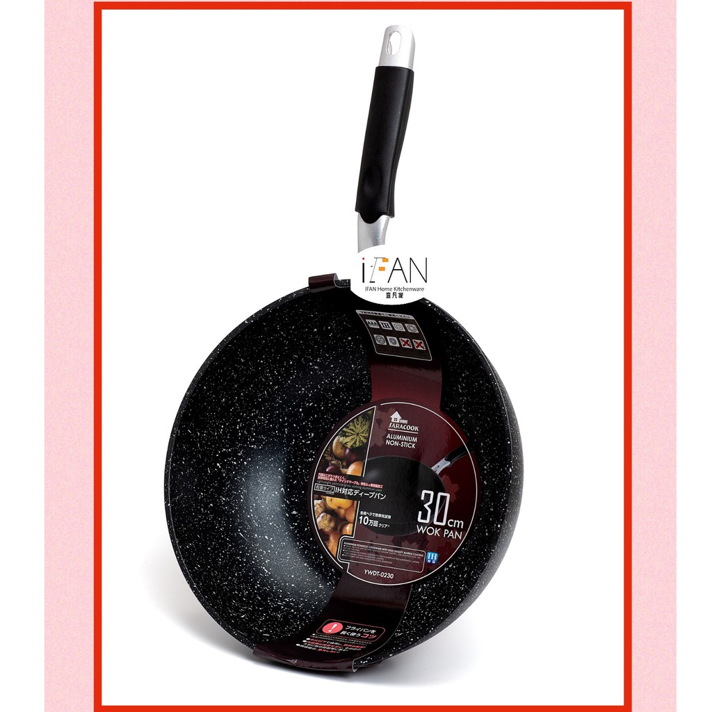 Non Stick Frying Pan Induction Frypan 20//24//26//28//30//32cm Marble Coated Fry Pan