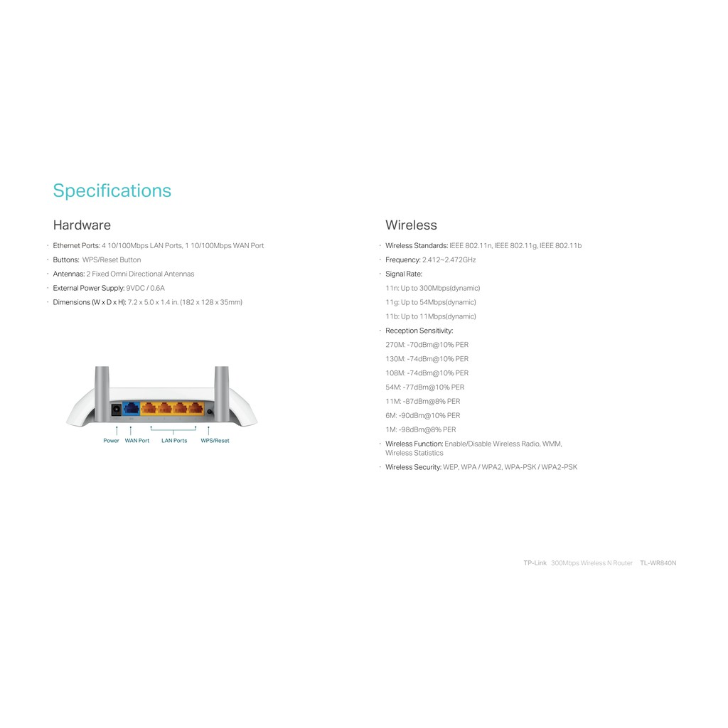 TP-LINK TL-WR840N 300MBPS WIRELESS N ROUTER WITH TWO 5DBI ANTENNAS