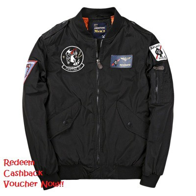 Badge Patched Zip Up Bomber Jacket