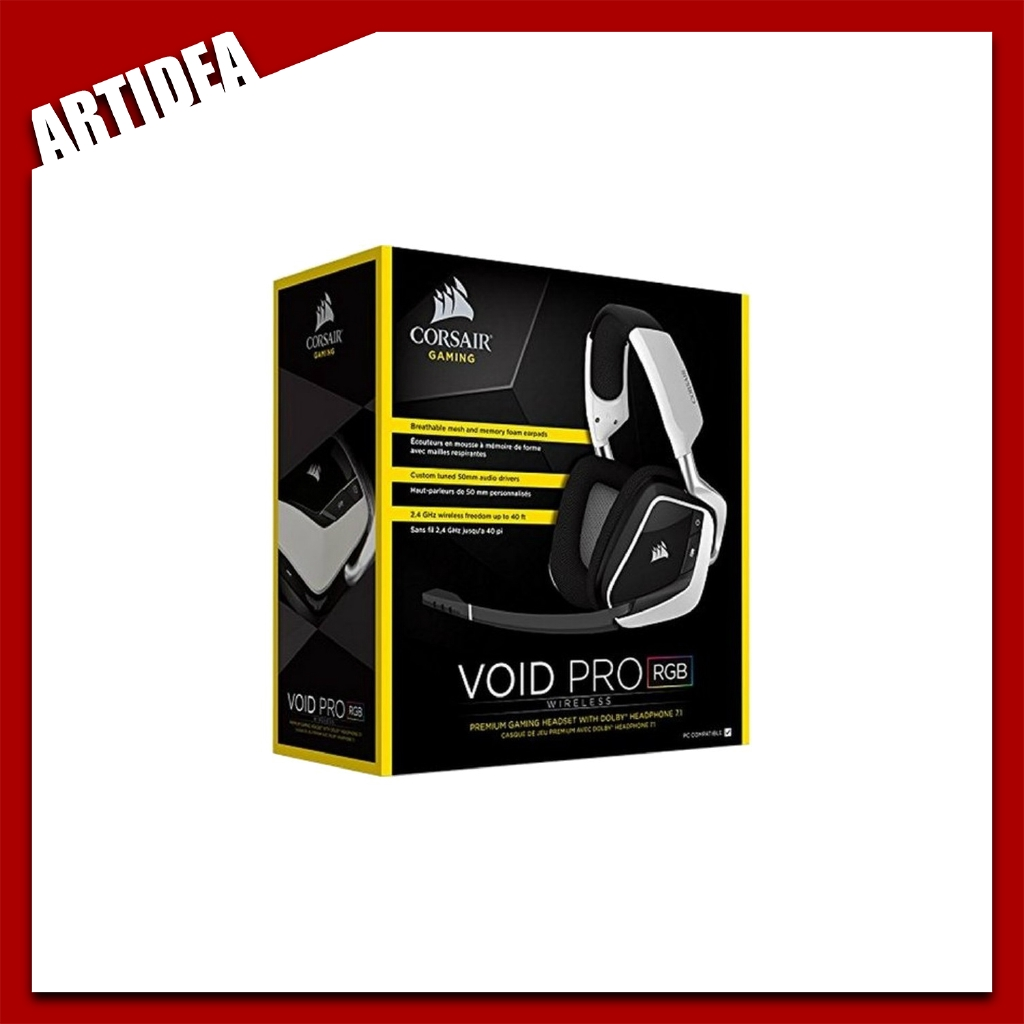 ^ CORSAIR VOID PRO RGB Wireless Gaming Headset 7 1 White | CA-9011153-AP