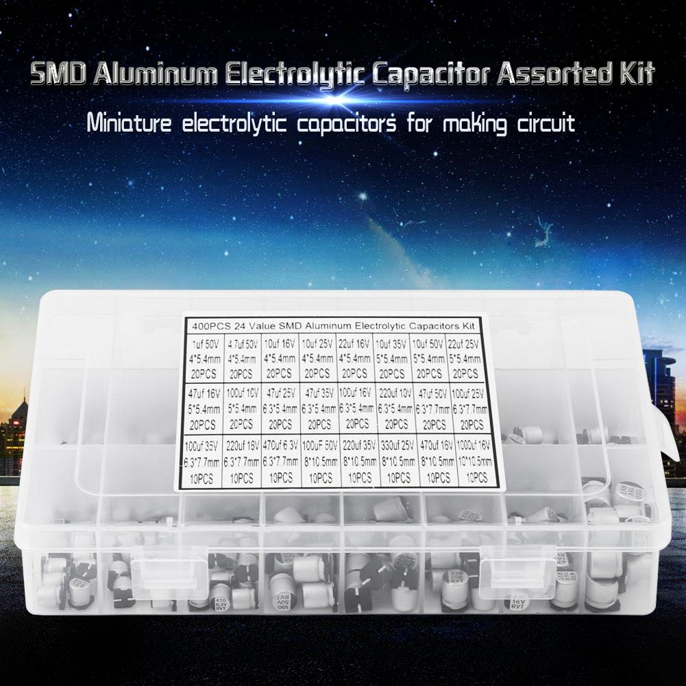 400pcs 24 Values SMD Electrolytic Capacitor Assorted Kit