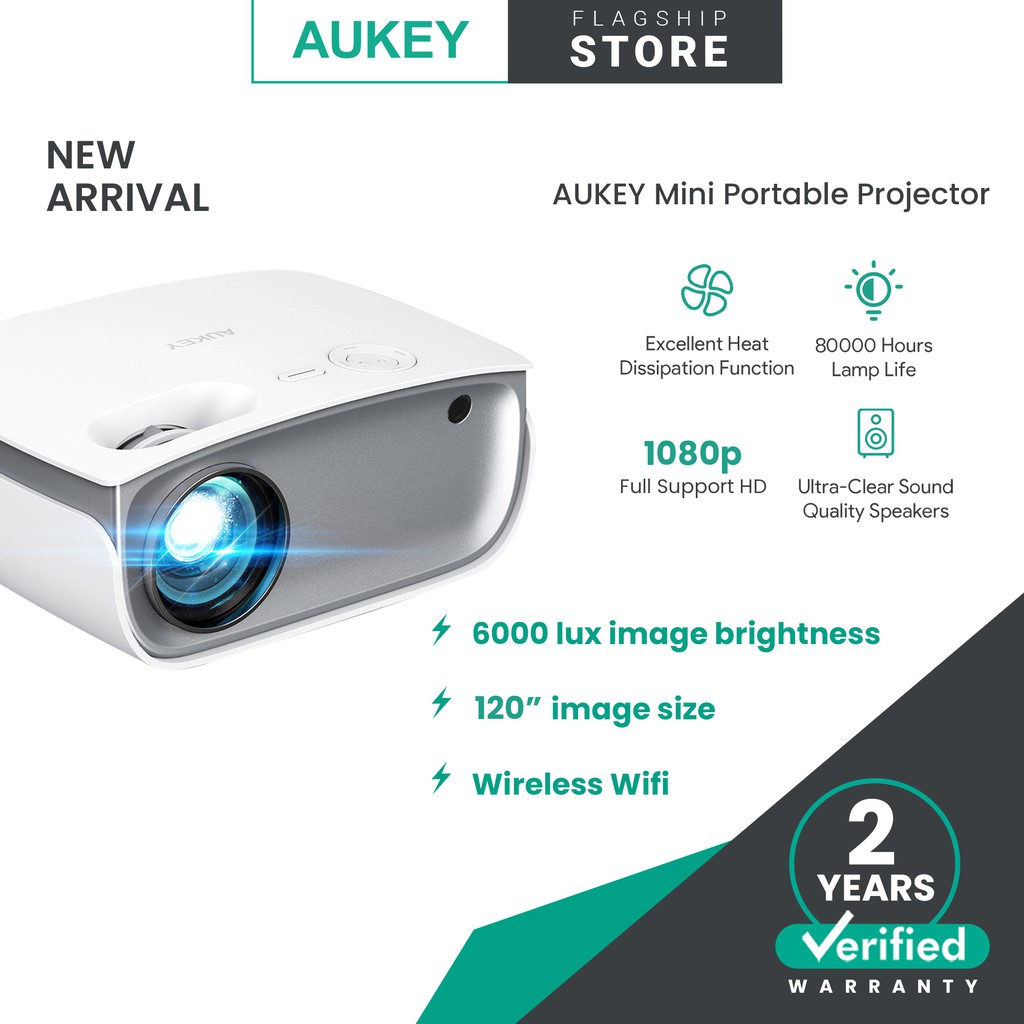Aukey RD-850 Wireless Wi-Fi Mini Projector with 1080p Resolution Support Smartphone Screen Sync
