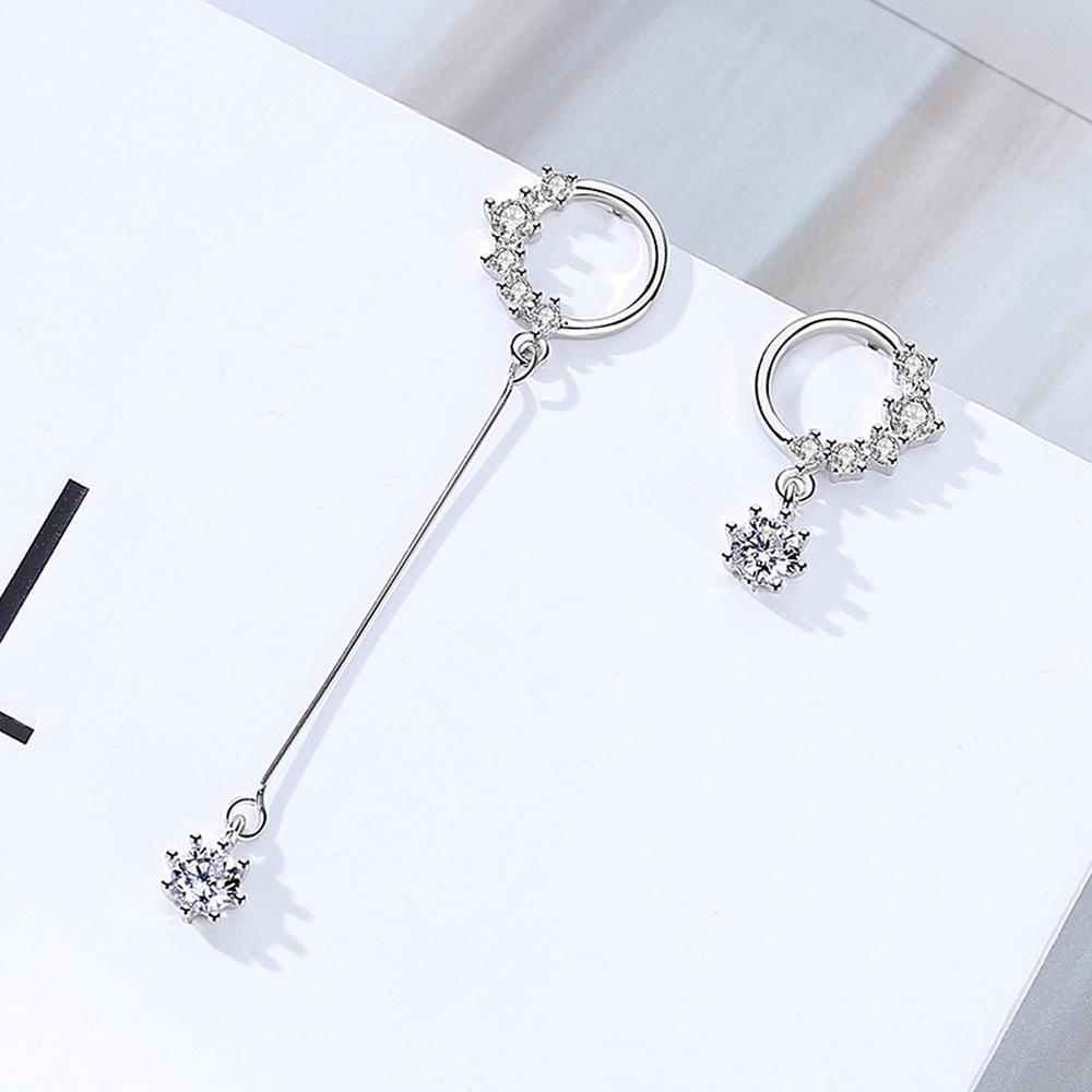 Korean New Simple Silver Earrings Female Diamond Ear Nail Jewelry