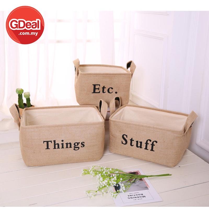 GDeal 3 Pcs Laundry Basket Cloth Storage Box Bedroom Jute Storage Bag Clothes Organizer