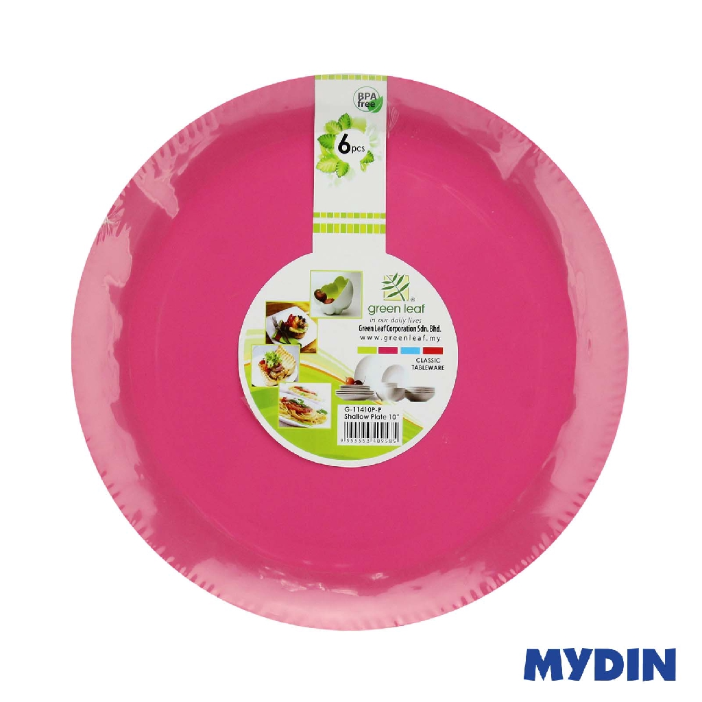 """Green Leaf Shallow Plate 10"""" 6s G-11410P - Pink"""