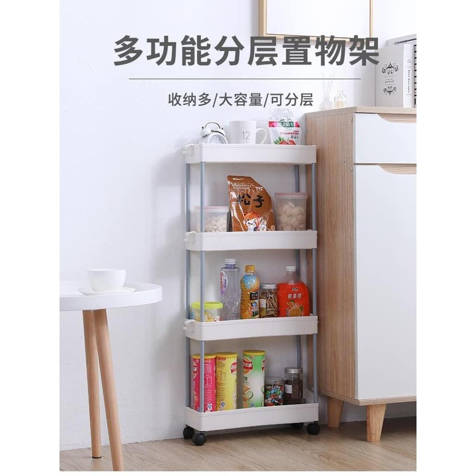 [ Ready Stock ] Multi Layer Shelf   Multi functional Slot Storage Rack   Kitchen Trolley Cart With Wheel   缝隙置物架