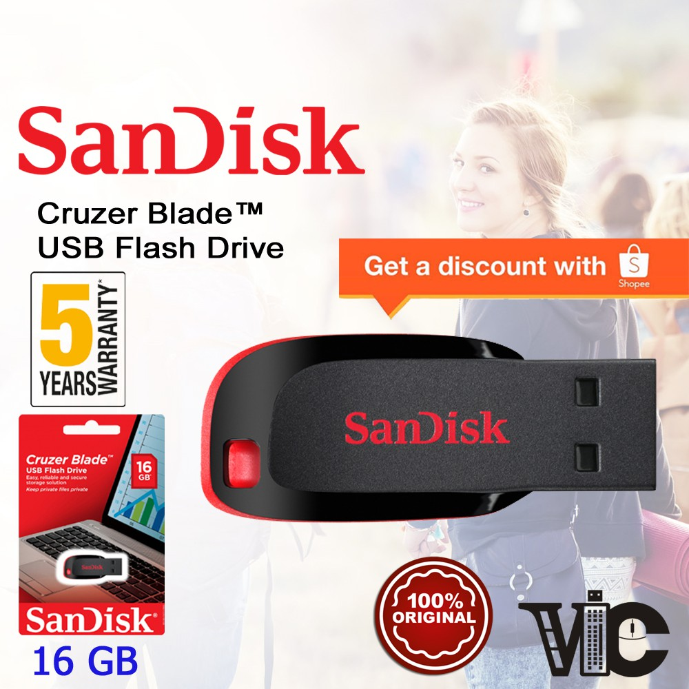Sandisk Cruzer Blade USB Flash Drive (8GB/16GB/32GB/64GB/128GB) | Shopee Malaysia