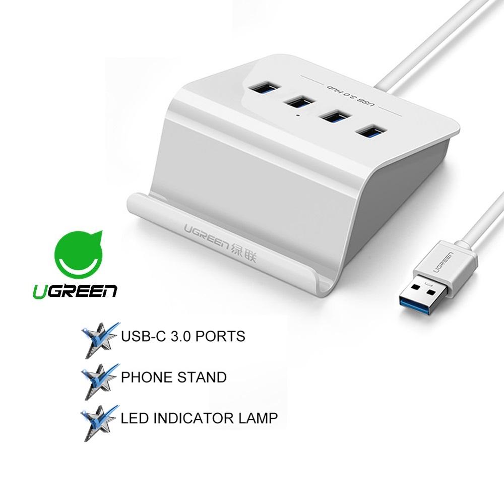 Ugreen 1M Length USB 3.0 HUB with Phone Holder 4 Port USB Splitter Power Adapter
