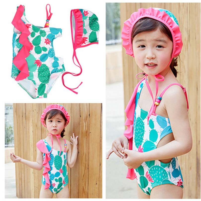 Infant Toddler Baby Girl Cactus Print One Piece Beachwear Swimsuit Headband