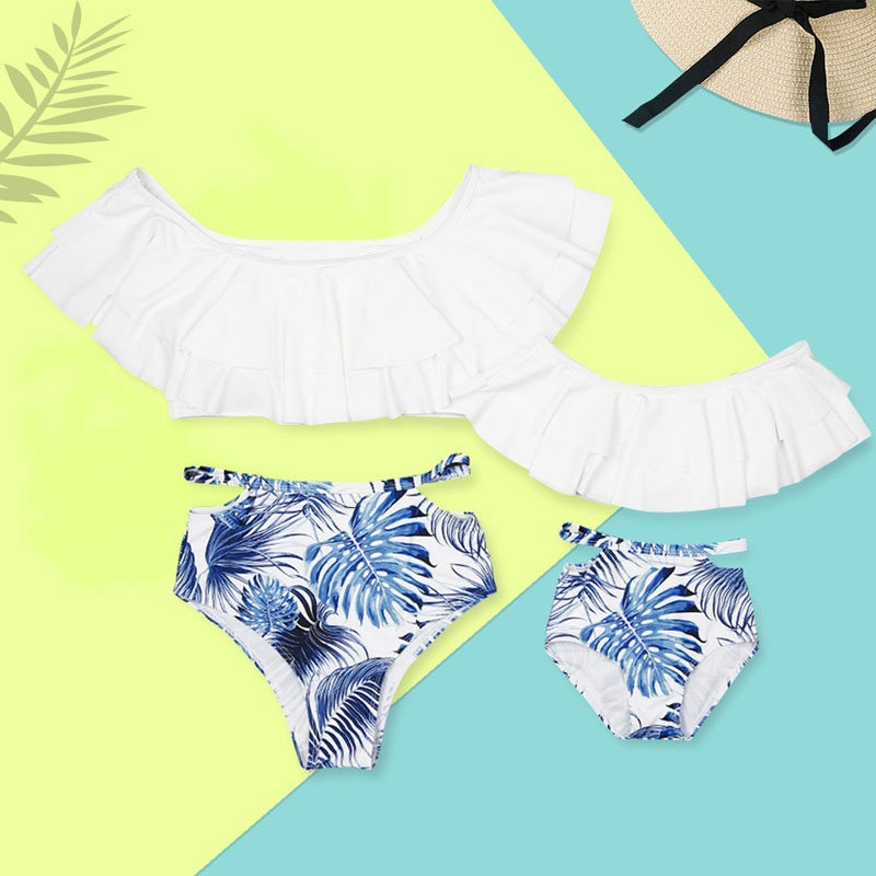 Family Matching Swimwear Mother Daughter Father Women Boys Girls Swimsuit Beach