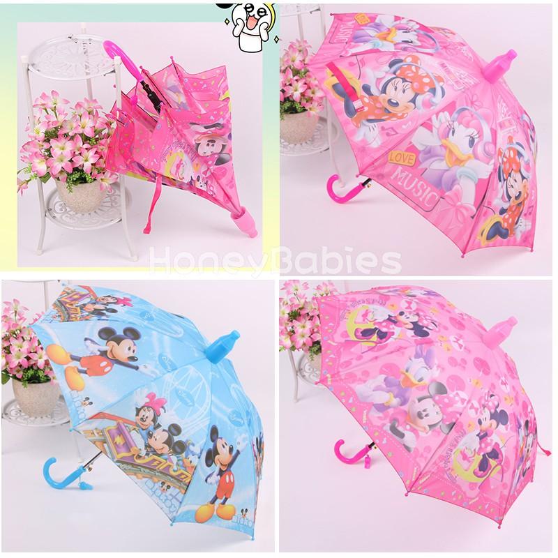 Mikey Minne Kids Cartoon Auto Umbrella Children Rain Gear George